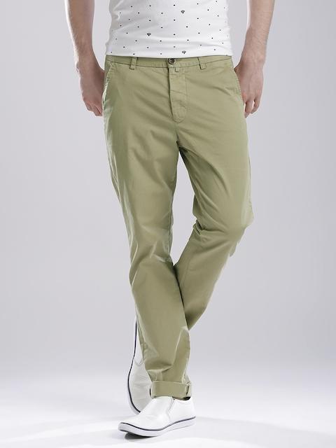Breakbounce Men Khaki Slim Casual Trousers