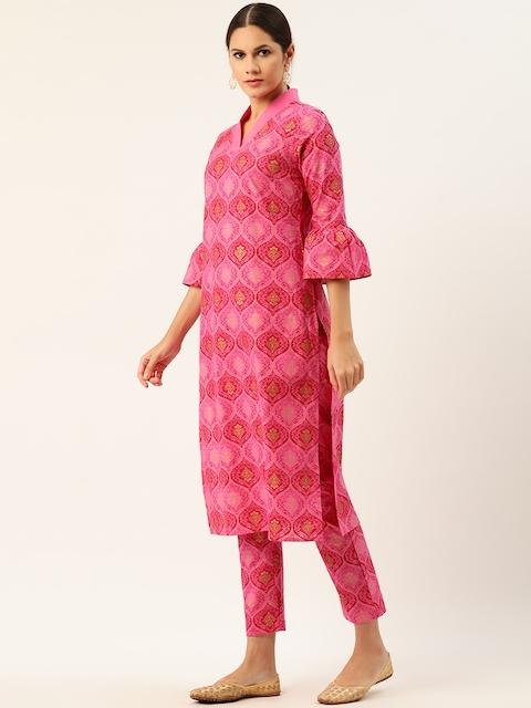 Anouk Women Pink Pure Cotton Printed Kurta with Trousers 4