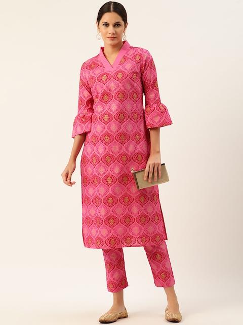 Anouk Women Pink Pure Cotton Printed Kurta with Trousers 6