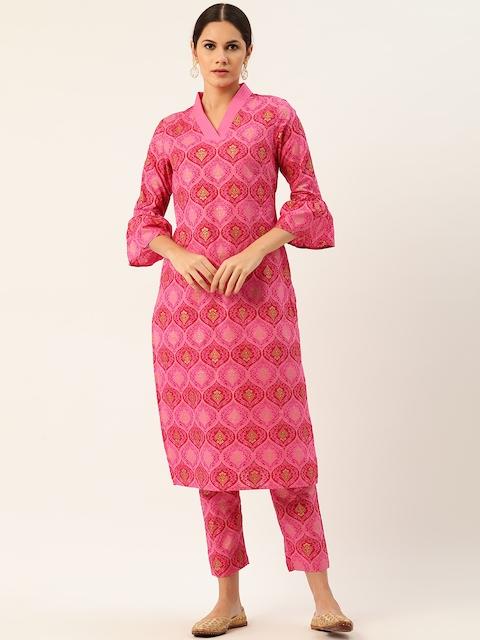 Anouk Women Pink Pure Cotton Printed Kurta with Trousers 1