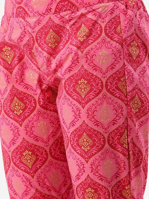 Anouk Women Pink Pure Cotton Printed Kurta with Trousers 3