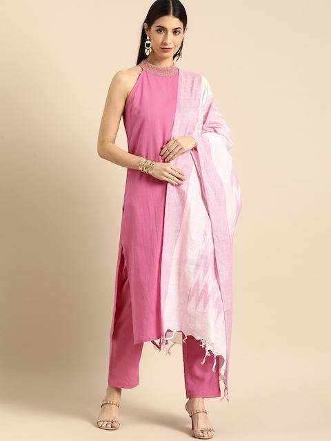 Anouk Women Pink Regular Thread Work Kurta with Trousers & With Dupatta 1