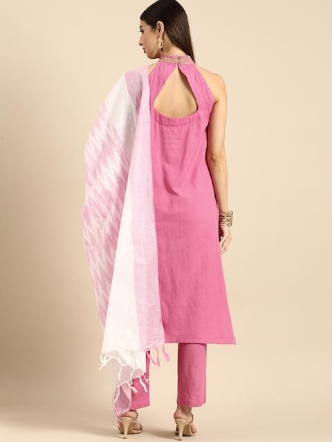 Anouk Women Pink Regular Thread Work Kurta with Trousers & With Dupatta 6