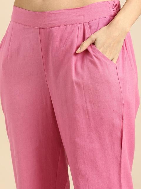 Anouk Women Pink Regular Thread Work Kurta with Trousers & With Dupatta 3