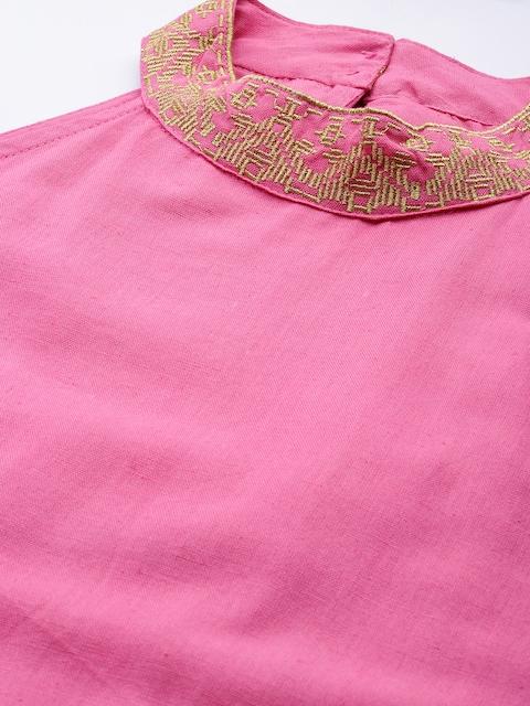 Anouk Women Pink Regular Thread Work Kurta with Trousers & With Dupatta 2