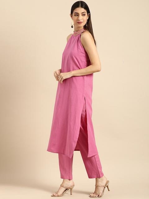 Anouk Women Pink Regular Thread Work Kurta with Trousers & With Dupatta 5