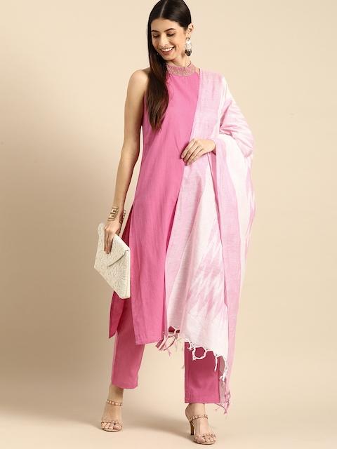 Anouk Women Pink Regular Thread Work Kurta with Trousers & With Dupatta 7