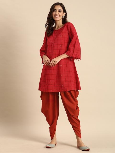 Anouk Women Red & Black Checked Kurti with Dhoti Pants 1