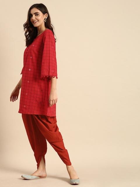 Anouk Women Red & Black Checked Kurti with Dhoti Pants 4