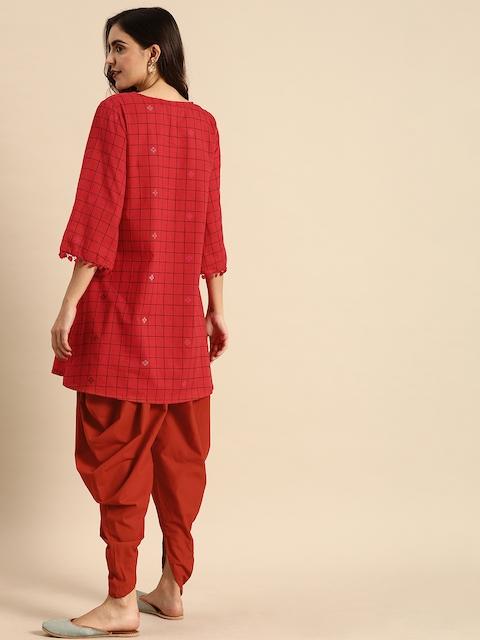 Anouk Women Red & Black Checked Kurti with Dhoti Pants 5