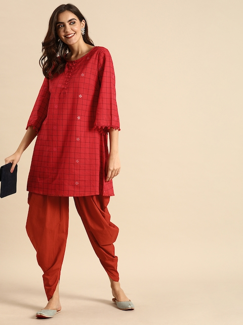 Anouk Women Red & Black Checked Kurti with Dhoti Pants 6