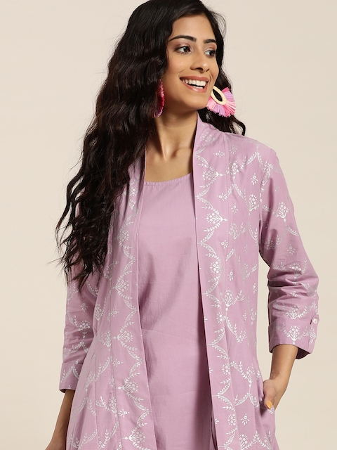 Sangria Women Lavender & Silver Solid Sleeveless A-Line Kurta with Printed jacket 1