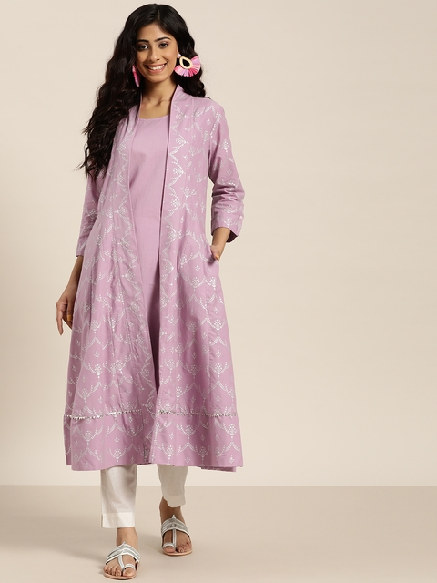 Sangria Women Lavender & Silver Solid Sleeveless A-Line Kurta with Printed jacket 3