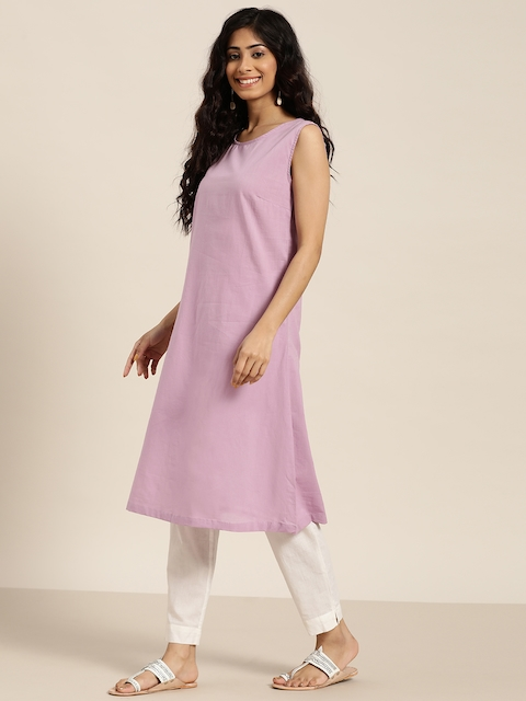 Sangria Women Lavender & Silver Solid Sleeveless A-Line Kurta with Printed jacket 4