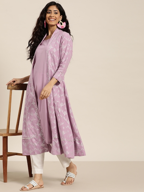 Sangria Women Lavender & Silver Solid Sleeveless A-Line Kurta with Printed jacket 6