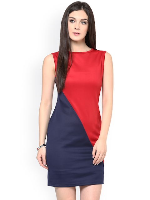 8f26ef90a8 Zima Leto Red   Blue Sheath Dress for Women Price Online in India on ...