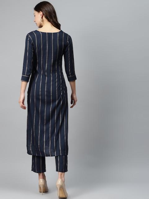 mokshi Women Navy Blue & Golden Striped Kurta with Trousers 5