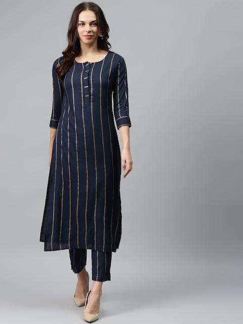 mokshi Women Navy Blue & Golden Striped Kurta with Trousers 1