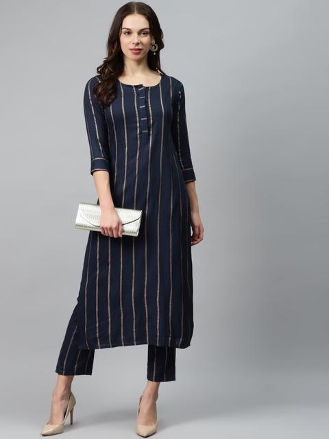 mokshi Women Navy Blue & Golden Striped Kurta with Trousers 6