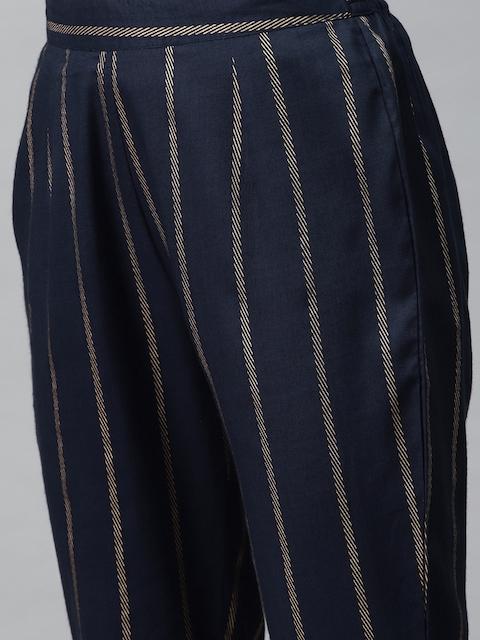 mokshi Women Navy Blue & Golden Striped Kurta with Trousers 3