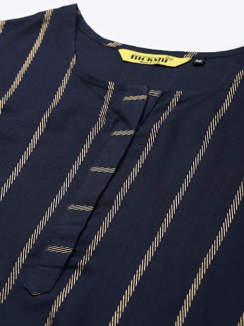 mokshi Women Navy Blue & Golden Striped Kurta with Trousers 2