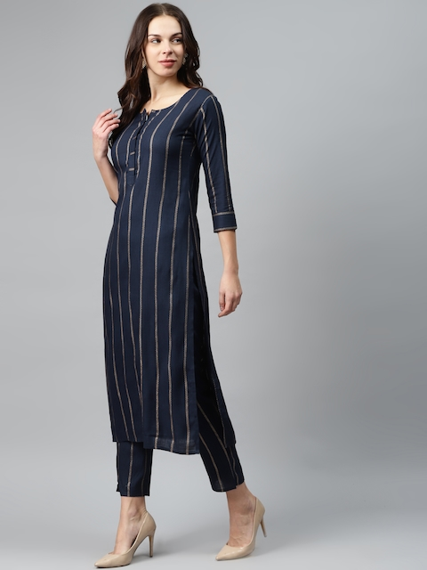 mokshi Women Navy Blue & Golden Striped Kurta with Trousers 4