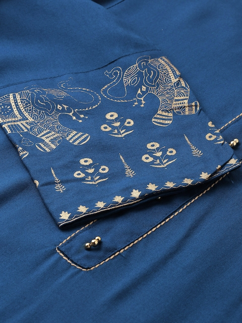 GoSriKi Women Teal Blue & Gold-Coloured Solid Kurta with Trousers & Dupatta 3
