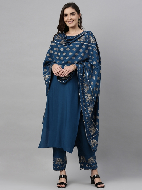 GoSriKi Women Teal Blue & Gold-Coloured Solid Kurta with Trousers & Dupatta 1