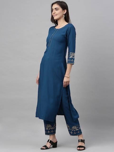 GoSriKi Women Teal Blue & Gold-Coloured Solid Kurta with Trousers & Dupatta 6
