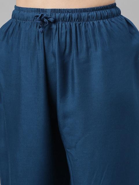 GoSriKi Women Teal Blue & Gold-Coloured Solid Kurta with Trousers & Dupatta 4
