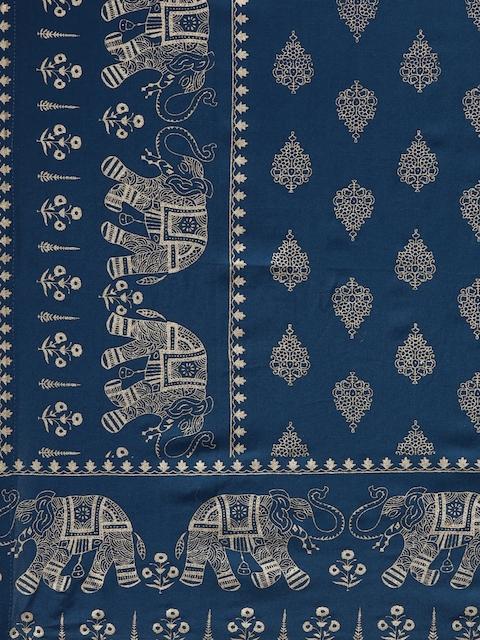 GoSriKi Women Teal Blue & Gold-Coloured Solid Kurta with Trousers & Dupatta 5