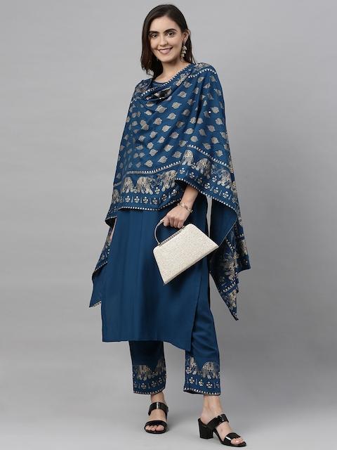 GoSriKi Women Teal Blue & Gold-Coloured Solid Kurta with Trousers & Dupatta 8