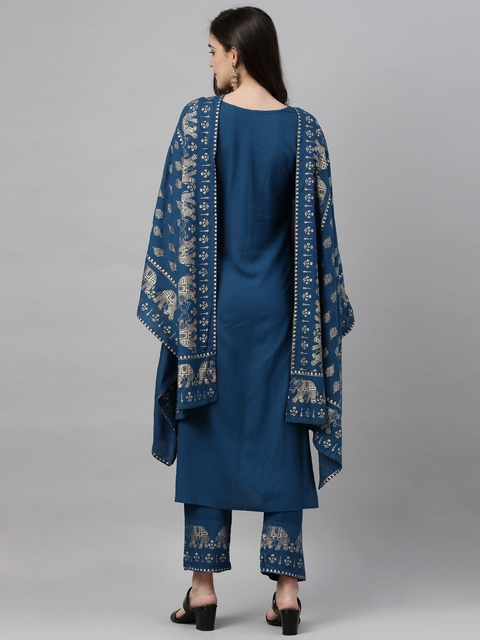 GoSriKi Women Teal Blue & Gold-Coloured Solid Kurta with Trousers & Dupatta 7