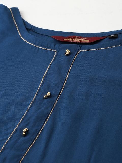 GoSriKi Women Teal Blue & Gold-Coloured Solid Kurta with Trousers & Dupatta 2