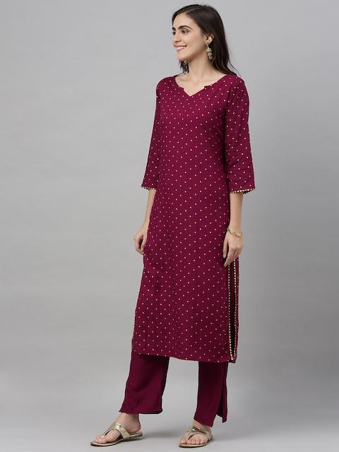 GoSriKi Women Burgundy & Off-White Printed Kurta with Trousers & Dupatta 6