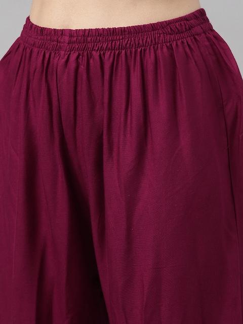 GoSriKi Women Burgundy & Off-White Printed Kurta with Trousers & Dupatta 5