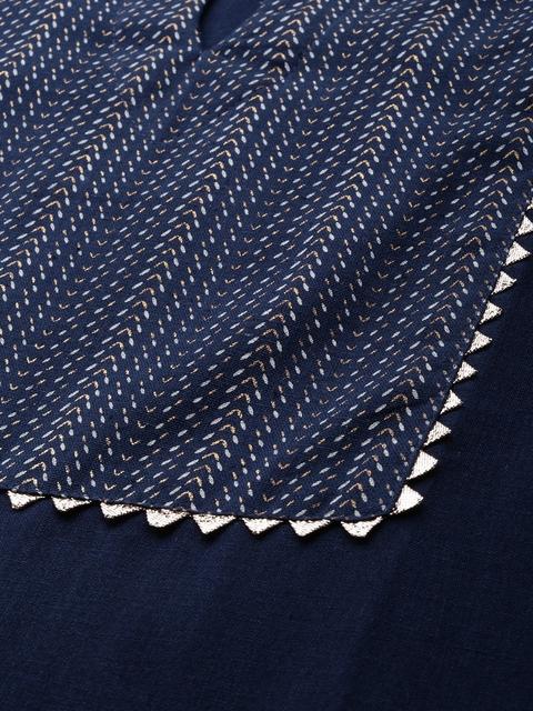 Indo Era Women Navy Blue Printed Kurta with Trousers & Dupatta 2