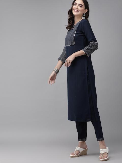 Indo Era Women Navy Blue Printed Kurta with Trousers & Dupatta 4
