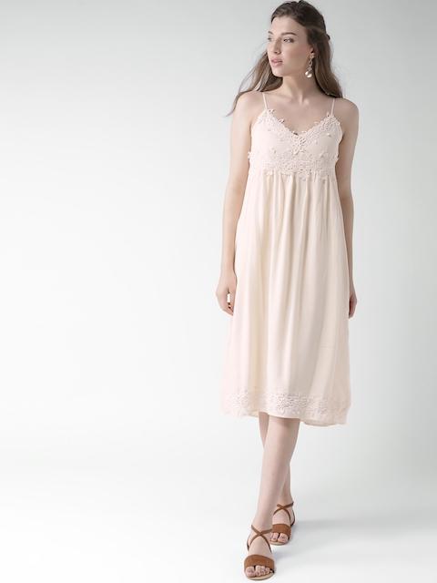 Buy Forever 21 Peach Coloured Crochet Detail Midi Dress Dresses