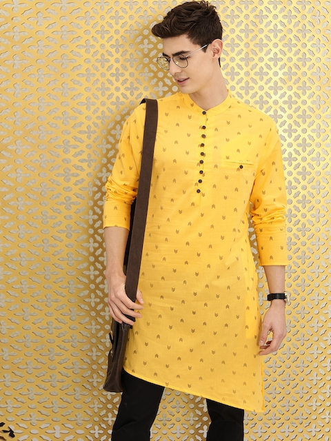 Ode by House of Pataudi Men Yellow & Brown Geometric Printed Kurta