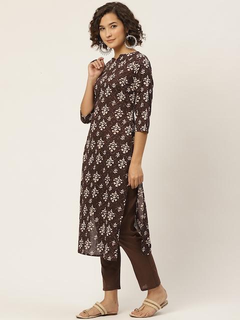 Anouk Women Coffee Brown & Cream-Coloured Ethnic Motifs Printed Straight Pure 4