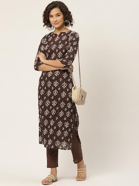 Anouk Women Coffee Brown & Cream-Coloured Ethnic Motifs Printed Straight Pure 1