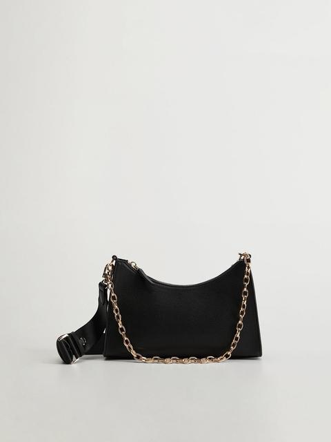 MANGO Black Solid Shoulder Bag with Detachable Sling Strap