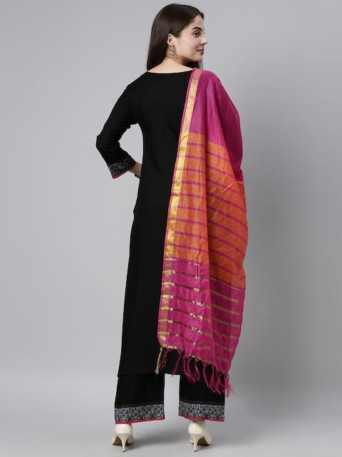 GoSriKi Women Black Yoke Design Pure Cotton Kurta with Palazzos & With Dupatta 6