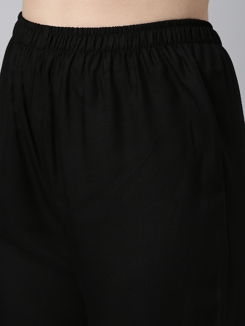 GoSriKi Women Black Yoke Design Pure Cotton Kurta with Palazzos & With Dupatta 3