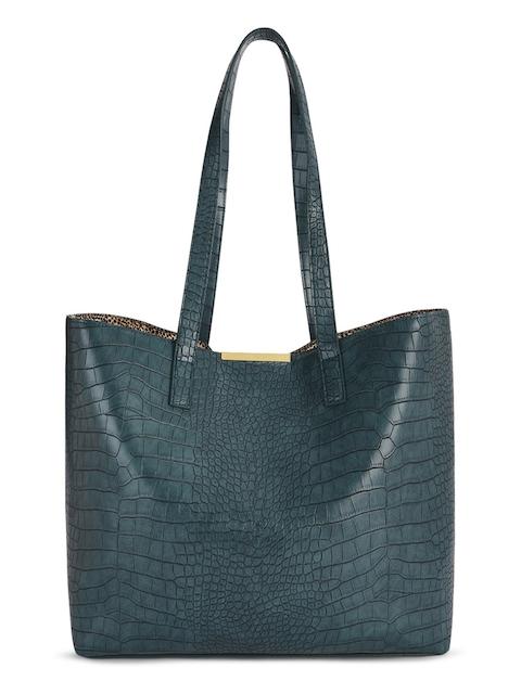 Caprese Teal Blue PU Oversized Shopper Tote Bag