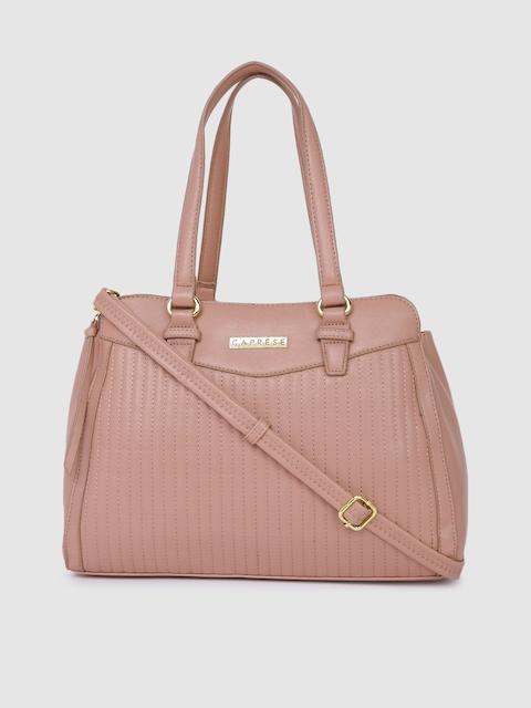 Caprese Women Mauve Self Striped Leather Shoulder Bag