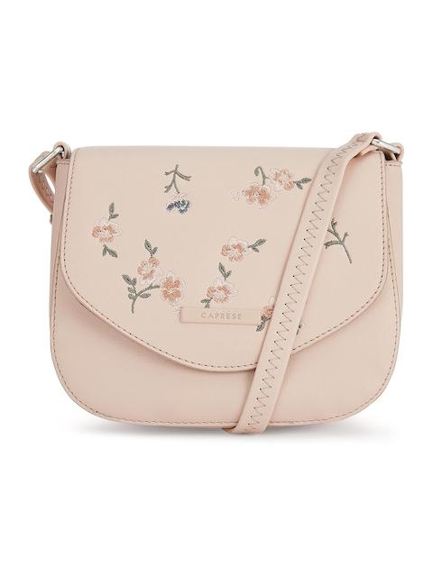 Caprese Pink Floral Floral Embroidered Sling Bag