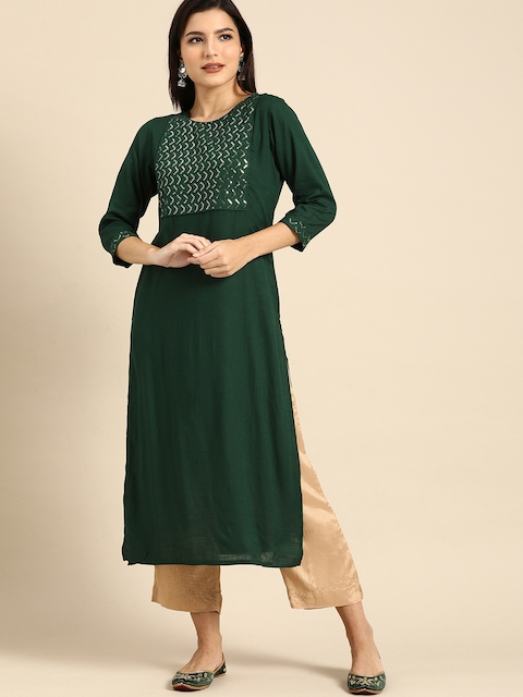 Rajnandini Women Green Embellished Kurta 3