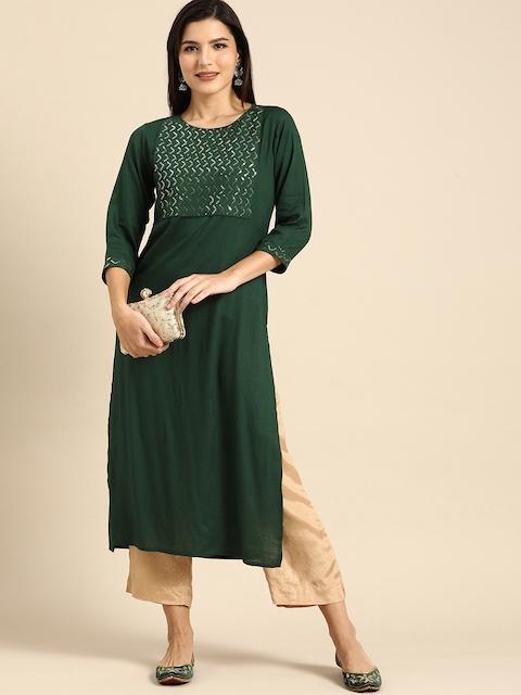 Rajnandini Women Green Embellished Kurta 1